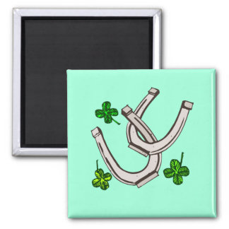 Lucky Irish Horseshoes and Clover Shamrocks Magnet