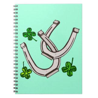 Lucky Irish Horseshoes and Clover Shamrocks Notebook