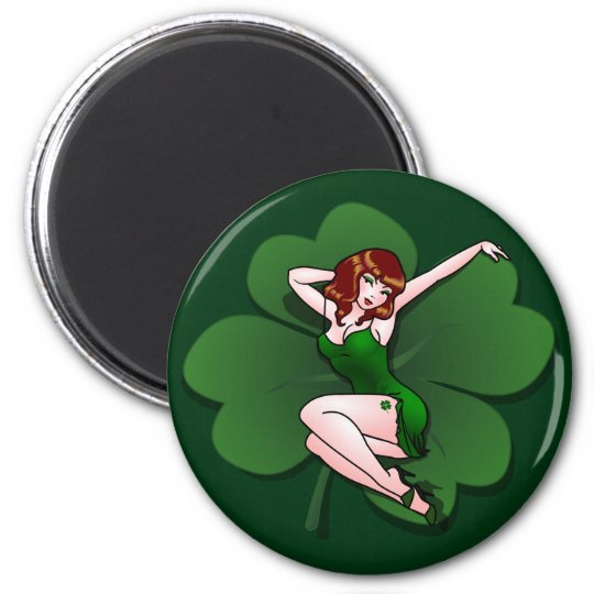 Lucky Irish Pin Up Girl Fridge Magnet  Lucky Gifts