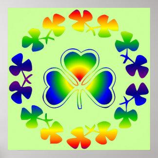 Lucky Irish   Shamrock Rainbow Poster