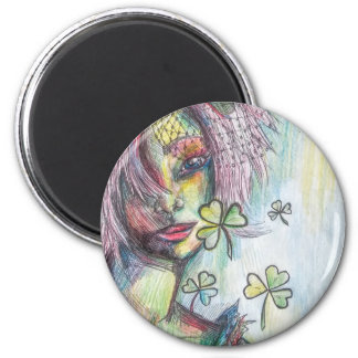 Lucky Lady 6 Cm Round Magnet
