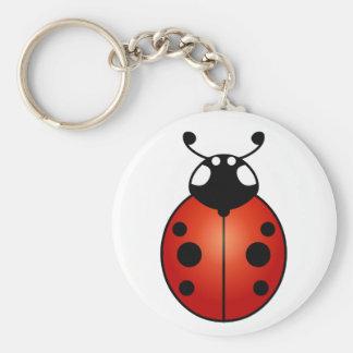 Lucky Ladybug Red Orange Black Ladybird Beetle Basic Round Button Key Ring