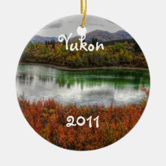 Lucky Lake; Yukon Territory Souvenir Round Ceramic Decoration