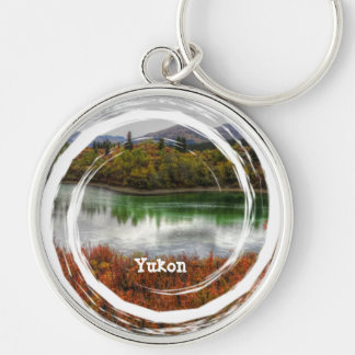 Lucky Lake; Yukon Territory Souvenir Silver-Colored Round Key Ring
