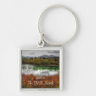 Lucky Lake; Yukon Territory Souvenir Silver-Colored Square Key Ring
