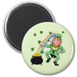 Lucky Leprechaun 6 Cm Round Magnet