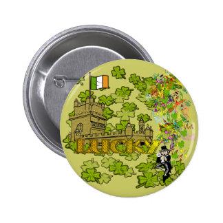 Lucky Leprechaun and His Irish Castle 6 Cm Round Badge