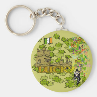 Lucky Leprechaun and His Irish Castle Basic Round Button Key Ring