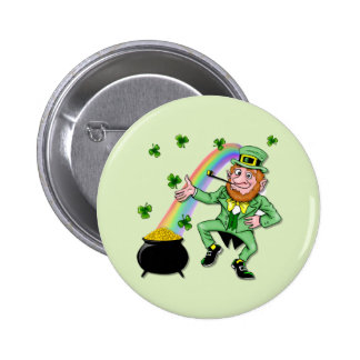 Lucky Leprechaun 6 Cm Round Badge