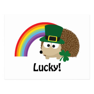 Lucky Leprechaun Hedgehog Postcard