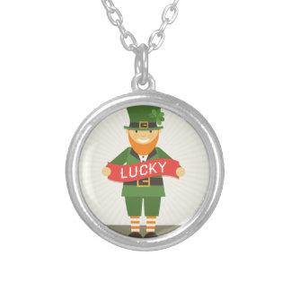lucky leprechaun round pendant necklace