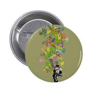 Lucky Leprechaun With Shamrocks 6 Cm Round Badge