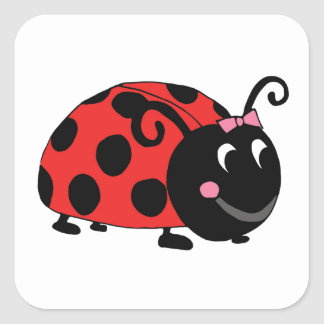 Lucky Little Ladybug Square Sticker