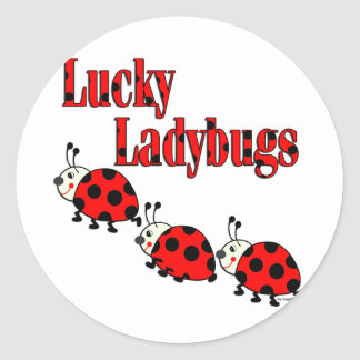 Lucky Little Ladybugs Classic Round Sticker