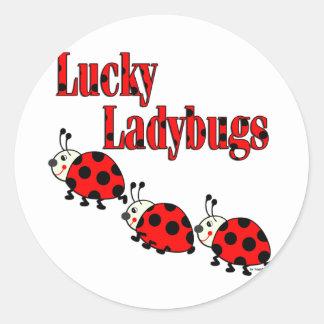 Lucky Little Ladybugs Round Sticker