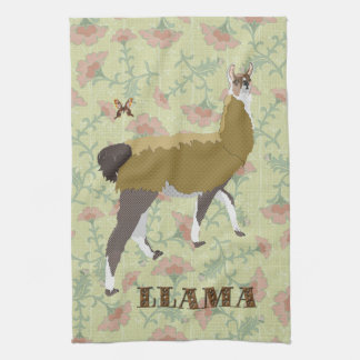 Lucky Llama & Butterfly Floral  Ornate Kitchen Tow Kitchen Towel