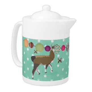 Lucky Llama & Golddust Butterflies Teapot