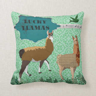 Lucky Llamas Green Mojo Pillow