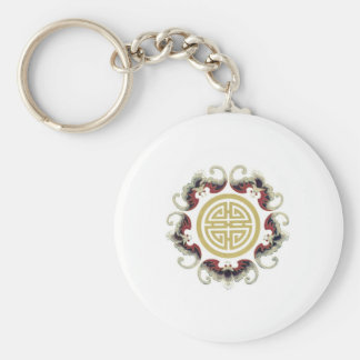 Lucky Longevity Chinese Charm Basic Round Button Key Ring