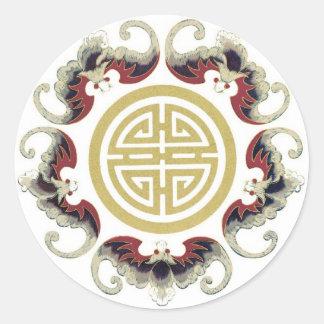 Lucky Longevity Chinese Charm Round Sticker