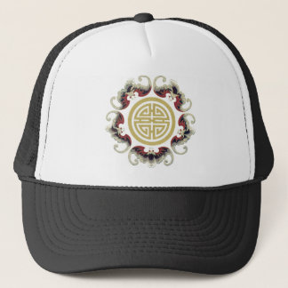 Lucky Longevity Chinese Charm Trucker Hat