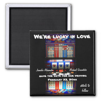 Lucky Love Casino Slot Machine Save the Date Square Magnet