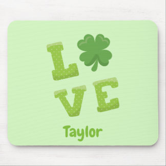 Lucky Love St Patricks Day Green Mouse Mat