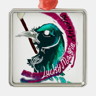 Lucky Magpie designs Silver-Colored Square Decoration