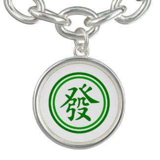 Lucky Mahjong Symbol • Green and White Charm Bracelet