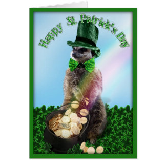 Lucky Meerkat with Pot Of Gold St. Patrick's Day Greeting Card