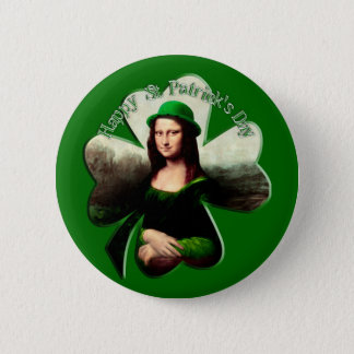 Lucky Mona Lisa St Patrick's Day Shamrock 6 Cm Round Badge