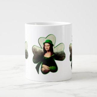 Lucky Mona Lisa St Patrick's Day Shamrock Giant Coffee Mug