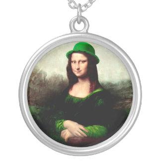 Lucky Mona Lisa St Patrick's Day Shamrock Silver Plated Necklace