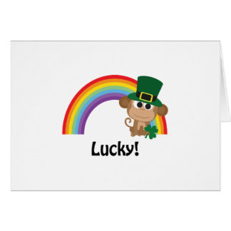 Lucky Monkey Leprechaun Note Card