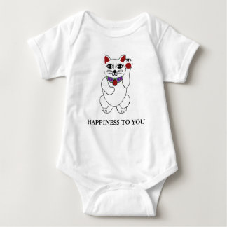 Lucky Neko Cat Happiness to You Shirt for Baby