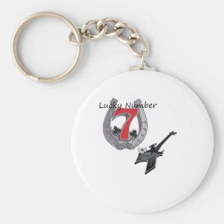 Lucky NUMBER 7 Basic Round Button Key Ring