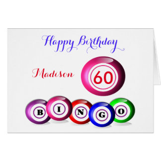 Lucky Number Bingo Themed Birthday Card