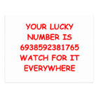 lucky number postcard