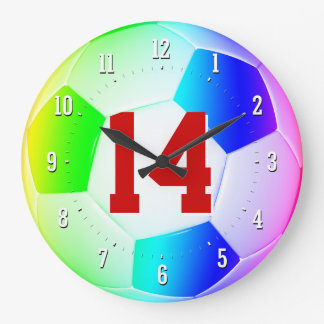 Lucky Number Soccer Football Colorful Wall Clock
