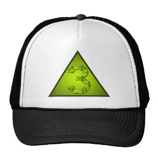 Lucky Number Three Green Triangle Crest Cap