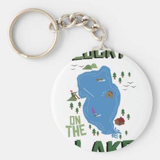 Lucky On Lake Basic Round Button Key Ring