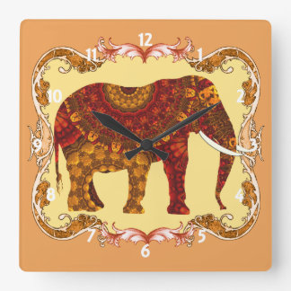 Lucky Ornate Patterned Indian Elephant Square Wall Clock