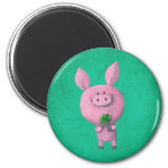 Lucky pig with lucky four leaf clover 6 cm round magnet