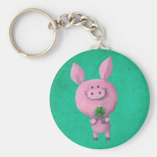 Lucky pig with lucky four leaf clover basic round button key ring