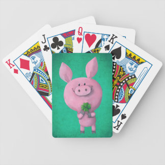 Lucky pig with lucky four leaf clover bicycle playing cards
