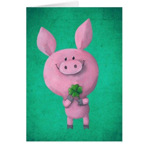 Lucky pig with lucky four leaf clover card