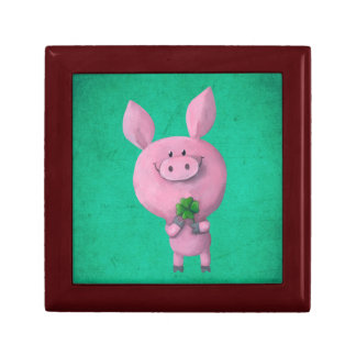 Lucky pig with lucky four leaf clover gift box
