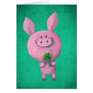 Lucky pig with lucky four leaf clover greeting card