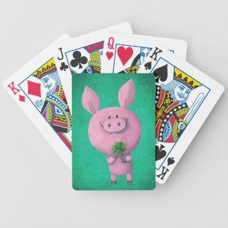 Lucky pig with lucky four leaf clover poker deck