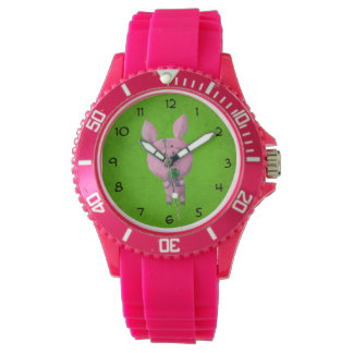 Lucky pig with lucky four leaf clover watch